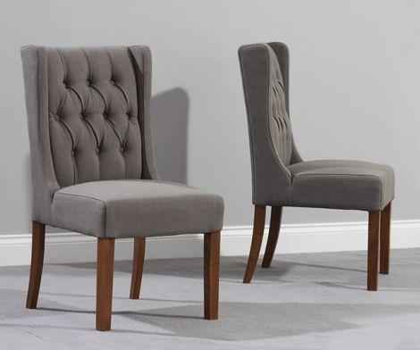 Stefini Dark Wood Dining Chairs (Pairs) - Grey